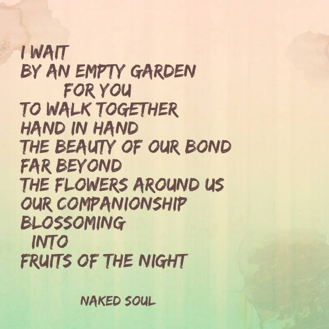 I wait by an empty garden for you