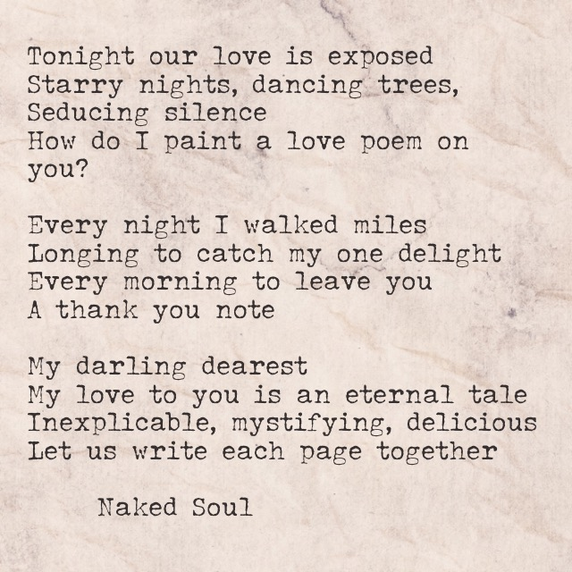 Tonight our love is exposed naked soul