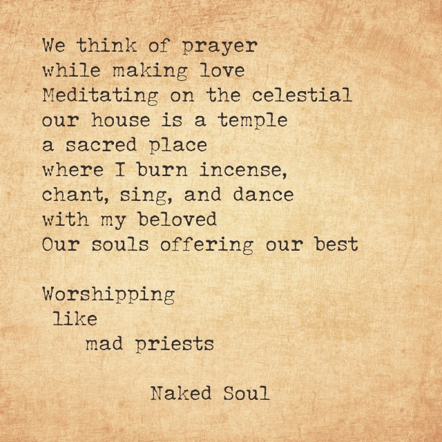 We think of prayer while making love