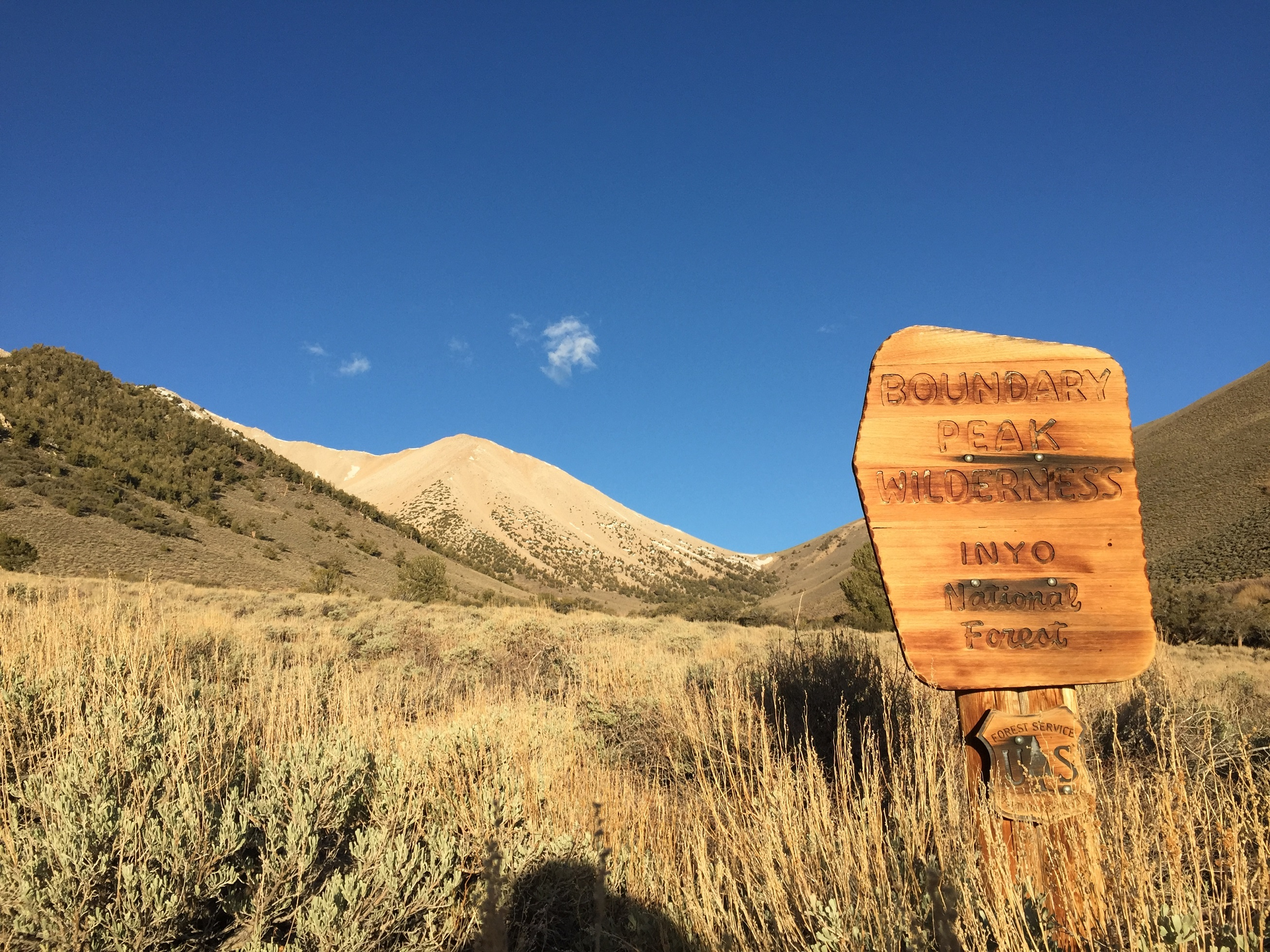 View_west_up_Trail_Canyon_at_the_sign_marking_the_edge_of_the_Boundary_Peak_Wilderness_in_Esmeralda_County_Nevada