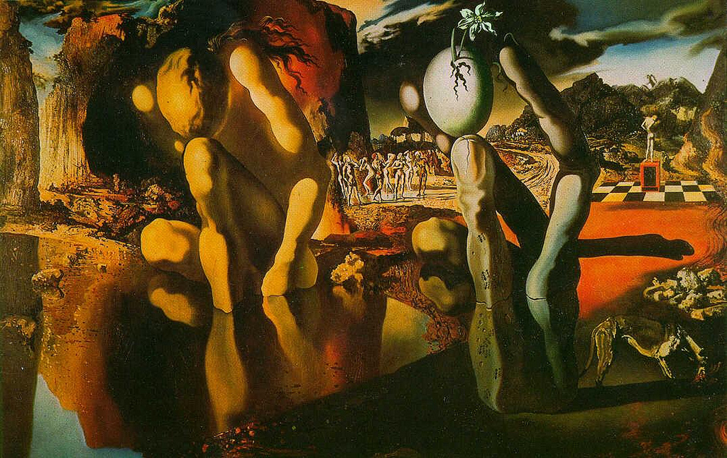 Salvador Dali's masterpiece painting metamorphosis of narcissus. How transformation happens.