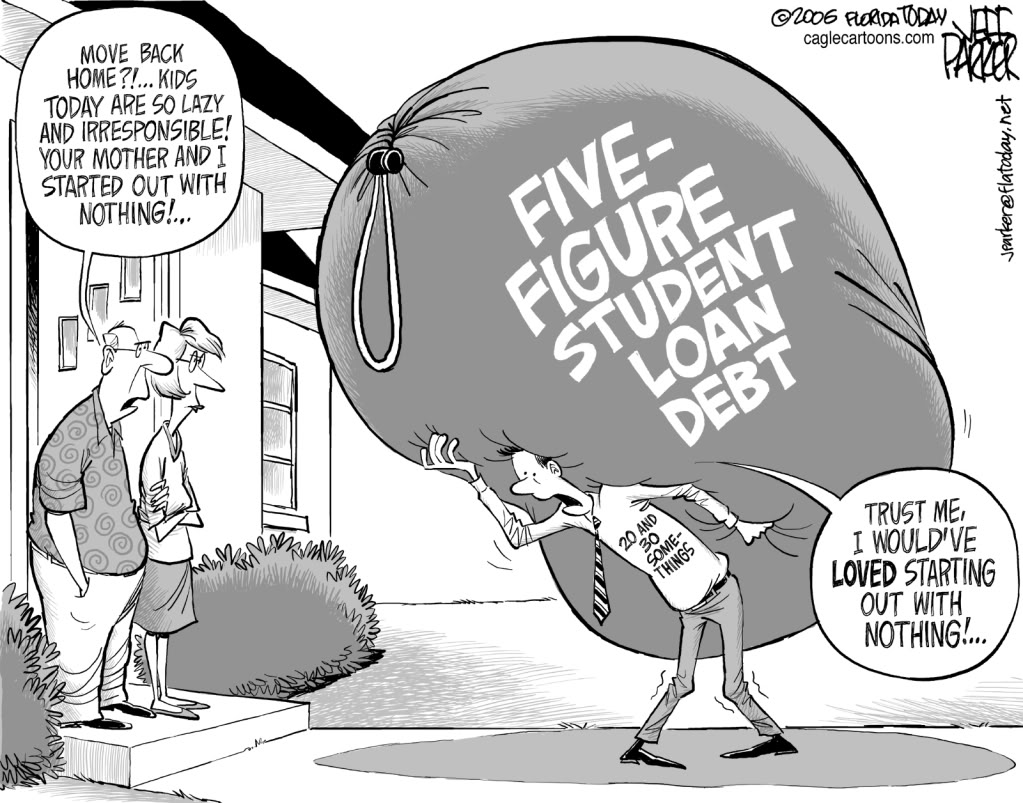 the cycle of never ending debt and the high cost of student loan debts