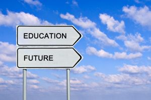 Ideal Education System. The Future of Education. Road sign to education and future.